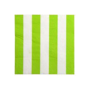 SERVIETTE JETABLE Serviettes en papier vert anis à rayures blanches