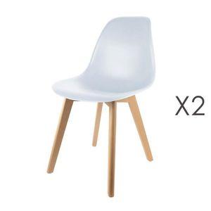 CHAISE Lot de 2 chaises enfant blanches et pieds naturels