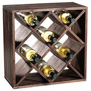 MEUBLE RANGE BOUTEILLE Etagère carré pour bouteilles à vin - 12 compartim