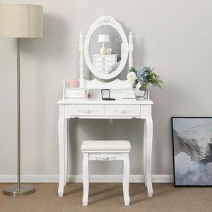 Generic Coiffeuse avec 2 tiroirs et 1 Tabouret Vintage avec Miroir Ovale Blanc
