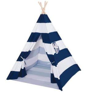 TENTE TUNNEL D'ACTIVITÉ Tent Tipi pour Enfant avec Coton Textile Rayé Bleu