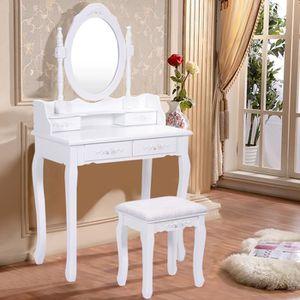 COIFFEUSE COSTWAY Coiffeuse avec Miroir Table de Maquillage