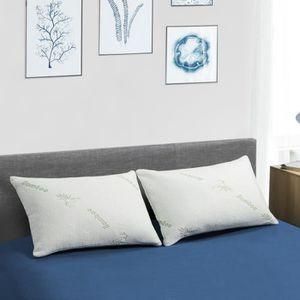 MATELAS Lot de 2 oreillers mémoire de forme 60x40 CM bambo