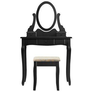 COIFFEUSE LANGRIA Coiffeuse en bois noir + 1 tabouret - Styl