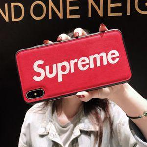COQUE - BUMPER Coque iPhone 11,Supreme Rouge Cuir Premium Coque C