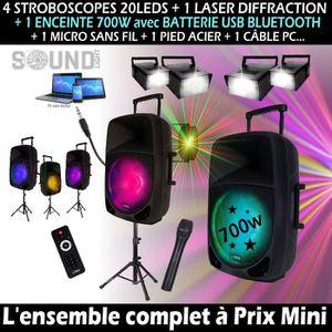 PACK SONO PACK SONO DJ 700W + 5 JEUX DE LUMIERE + PIED ENCEI