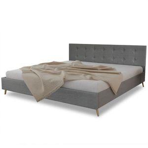 STRUCTURE DE LIT Lit en bois 200 x 180 cm avec revêtement en tissu