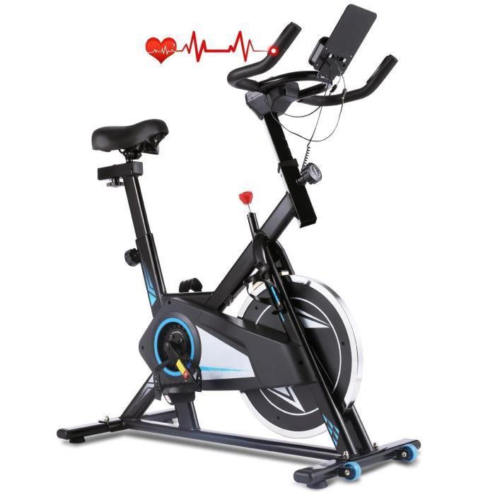 Vélo d'Appartement Intérieur Vélo Biking Fitness Cardio avec Résistance Ajustable Écran LCD, Contrôle APP, Roue inertie 8kg Noir