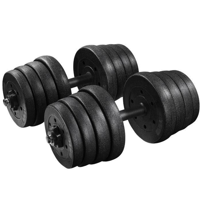 BESPORTBLE 30 kg haltère réglable(2,5 kg x 4 pièces + 2,0 kg x 4 pièces + 1,5 kg x 4 pièces + 1,25 x 4 pièces + 2 pôles + 4 écrous)