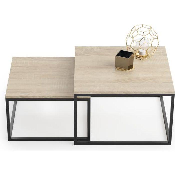 Ensemble de 2 tables basses de style industriel TWIN
