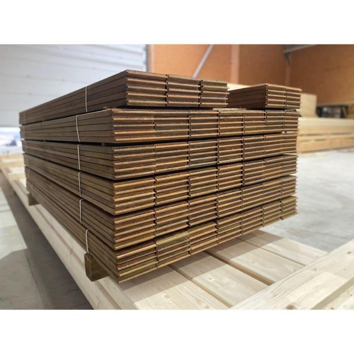 Clôture - Claustrât - Panneaux bois autoclave 4 ajouré en kit - 20m de longueur - Poteaux 9x9cm + Lames 28x145mm + Lamb 45x70 + Vis