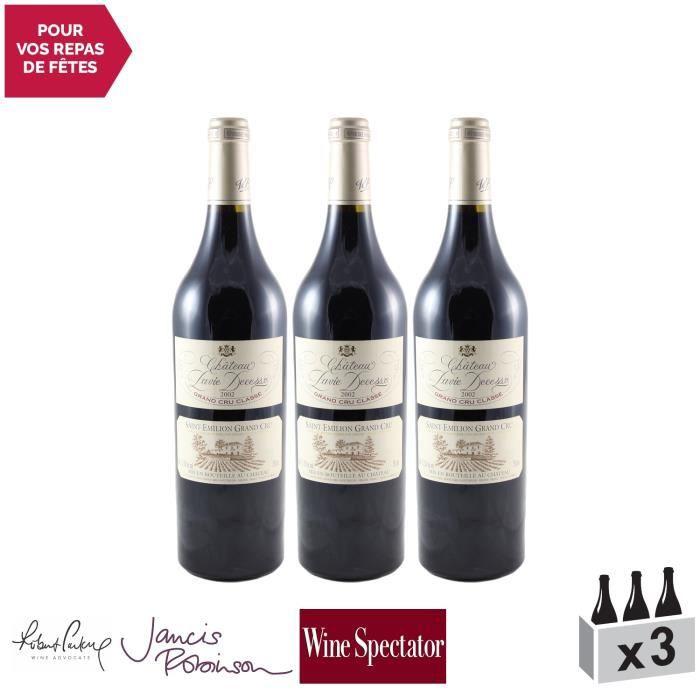 Château Pavie Decesse Rouge 2002 - Lot de 3x75cl - Appellation AOC Saint-Emilion Grand Cru - Vin Rouge de Bordeaux - 17-20 Jancis