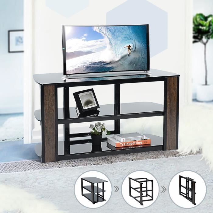 Furnish1 Console élégante avec support en verre trempé foncé pour téléviseur, cadre de divertissement pliant