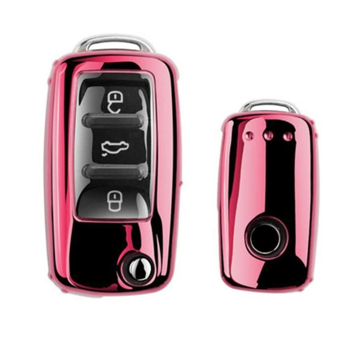 Étui à clés de voiture en TPU souple, housse complète pour VW Volkswagen Polo Golf Passat Beetle Caddy T5 Up Eos [72EDE90]