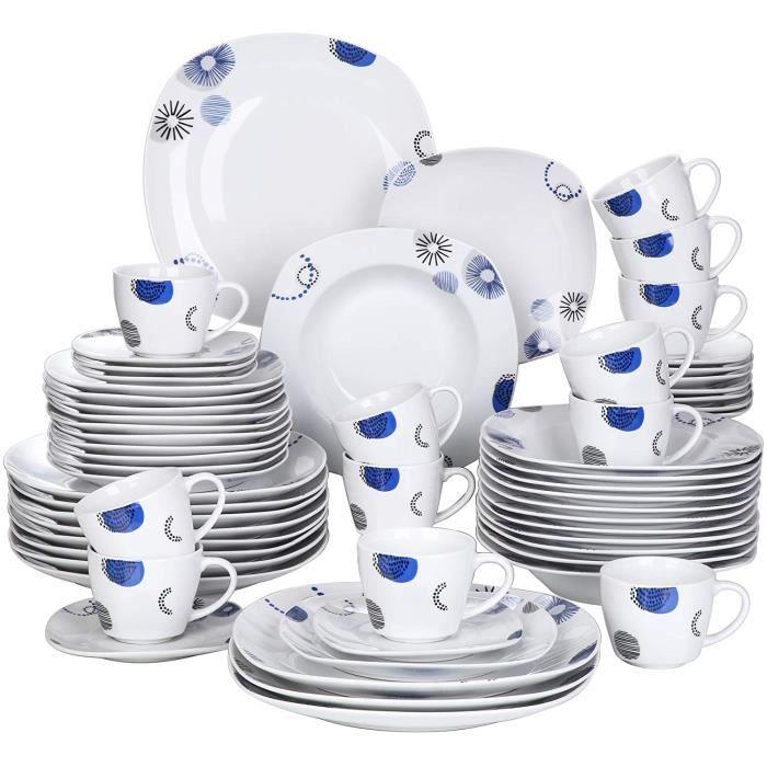 VEWEET, Série Edson, Service Complet 60 Pièces pour 12 Personnes, Assiette Vaiselle en Porcelaine, Style Nature