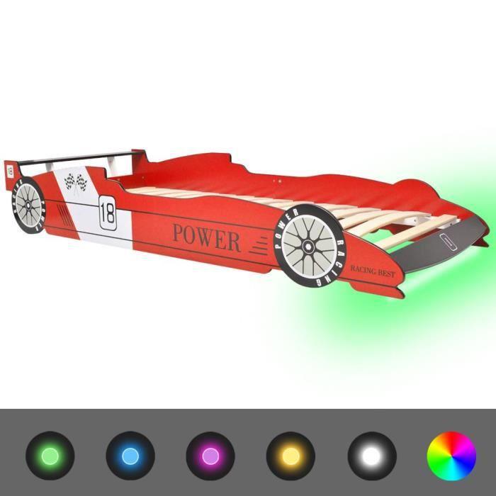 Bonne qualité - Lit enfant - Lit voiture de course pour enfants avec LED 90 x 200 cm Rouge @9482 :