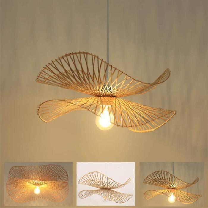 Lampe Suspension Rétro Naturel Bambou Rotin Tissé Pendentif Lumières E27 Hauteur Réglable Chapeau Lustre Chambre Salon Lampe Sa A474