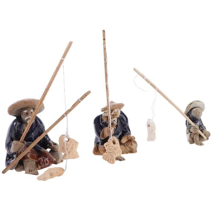 3 Pièces en Céramique Pêcheur Figurine Miniature Statue Pêcheur Bonsaï Pêcheur Figure Sable Table Fish Tank Ornements De Jardin De F