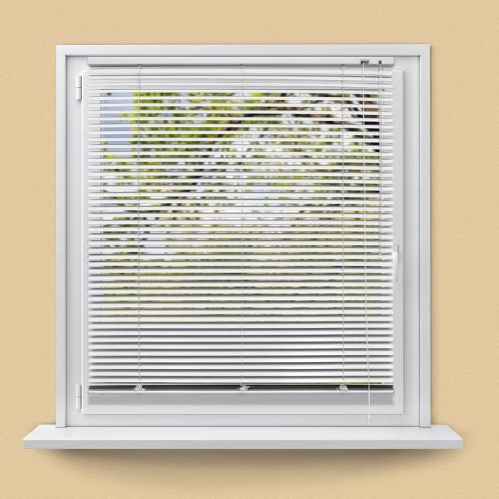 ECD Germany Store Vénitien Aluminium 100 x 220 cm - Blanc - Ailettes en aluminium - Protection visible,
