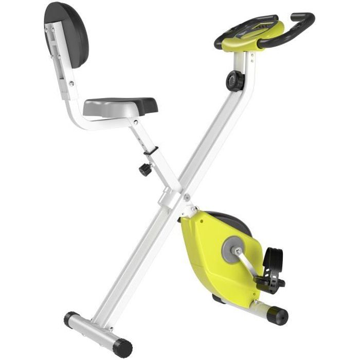 Vélo d'appartement pliable selle réglable dossier écran LCD multifonction capteur fréquence cardiaque acier blanc jaune 43x97x109cm
