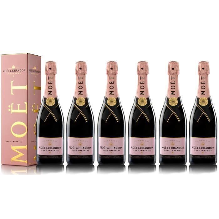 Lot 6 Champagnes Moët & Chandon Rosé Imperial 75cl avec étuis