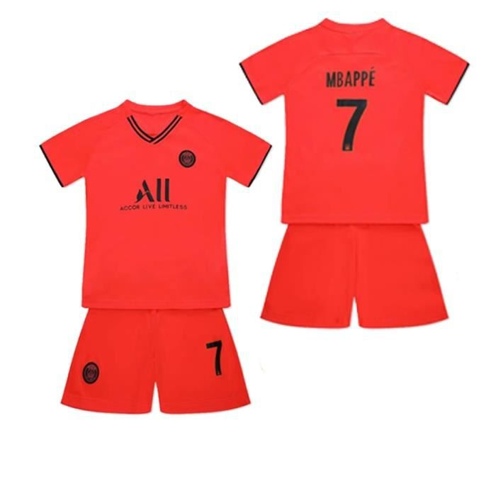 PSG Jordan Maillot de Foot Short Football Soccer NO.7 Kylian Mbappé 2019 2020 Pas Cher pour Enfant Garçon