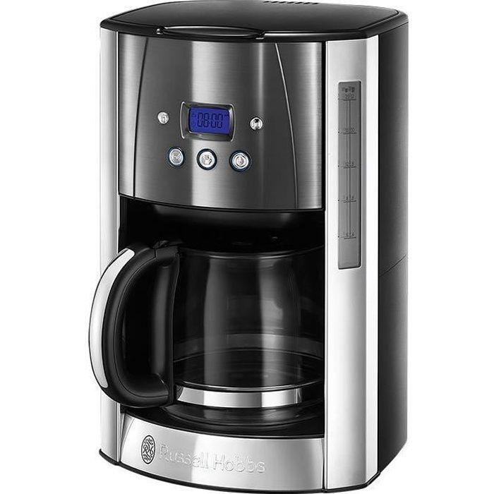 RUSSELL HOBBS 23241-56 Cafetière Filtre Luna 1.8L Inox, 12 Tasses, Programmable, Auto-Nettoyante - Gris