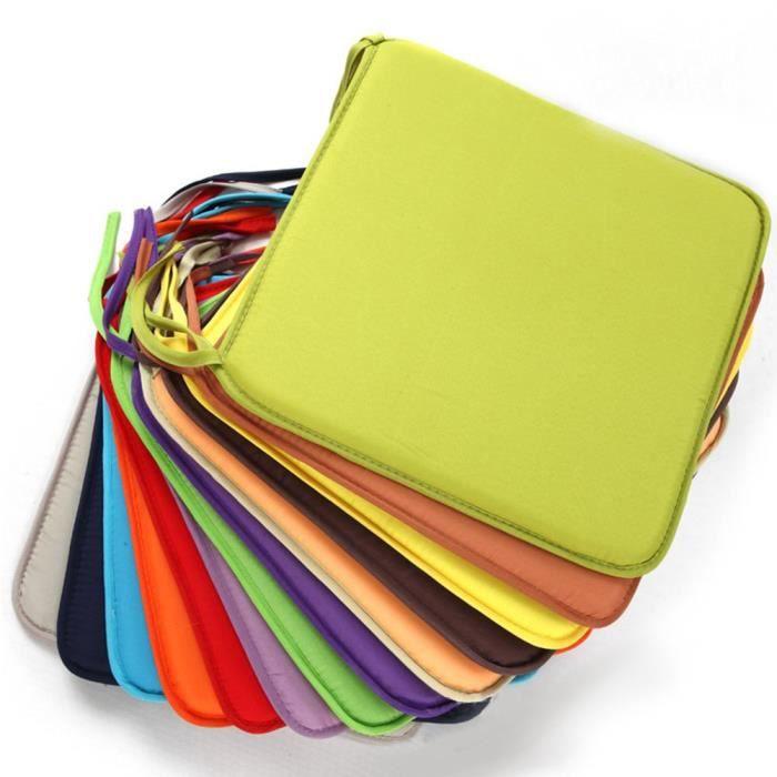 Coussinets d'assise de chaise carrée, Polyester amovible confortable Chaise de salle à manger Coussins galettes de,#4922