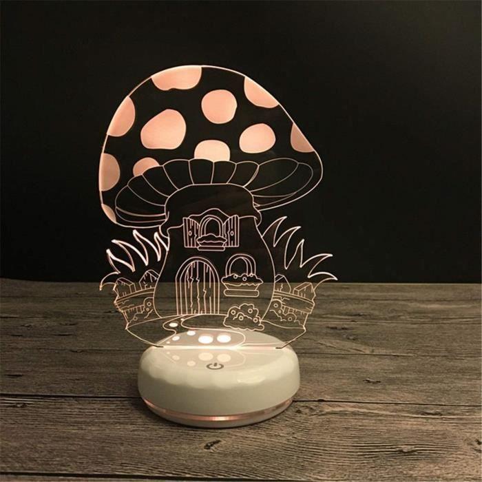 Décoratif USB Champignon 3D Télécommande Optique ILLusion Veilleuse Lumineux Blanc Base Couleurs Table à langer Lampe de AU589857