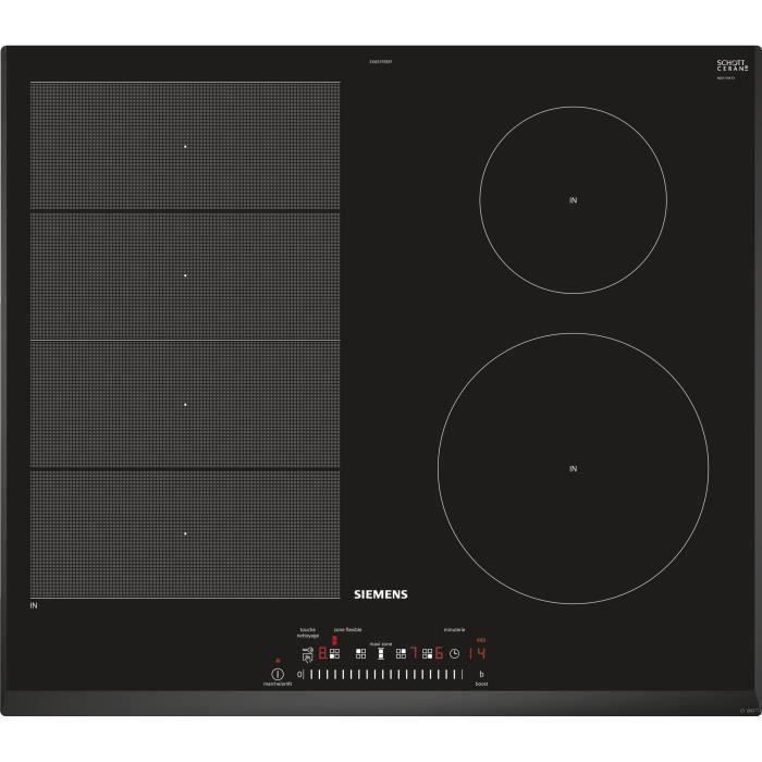 SIEMENS EX651FEB1F - Table de cuisson induction - 4 zones - 7400 W - H51 x L592 x P52,2 cm - Revêtement verre - Noir