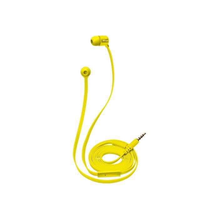 Trust Urban Duga Écouteurs avec micro intra-auriculaire filaire jack 3,5mm jaune fluorescent