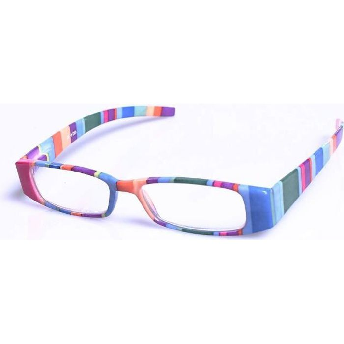 Lunettes loupe monture rayée dioptrie 2.5