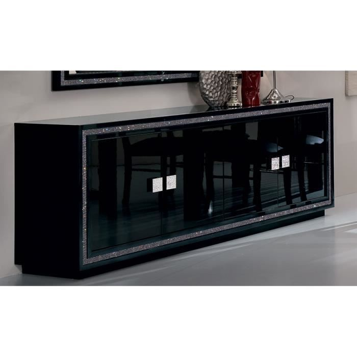 Buffet bahut noir laqu 4 portes design pachino 3 portes for Meuble 4 portes noir laque