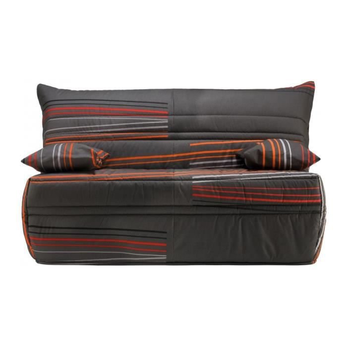 banquette bz tissu gris motifs matelas 140x190 sofaflex. Black Bedroom Furniture Sets. Home Design Ideas