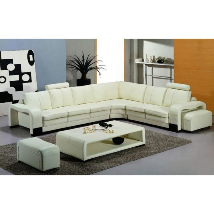 canap d 39 angle en cuir blanc design avec 2 poufs achat vente canap sofa divan cuir. Black Bedroom Furniture Sets. Home Design Ideas