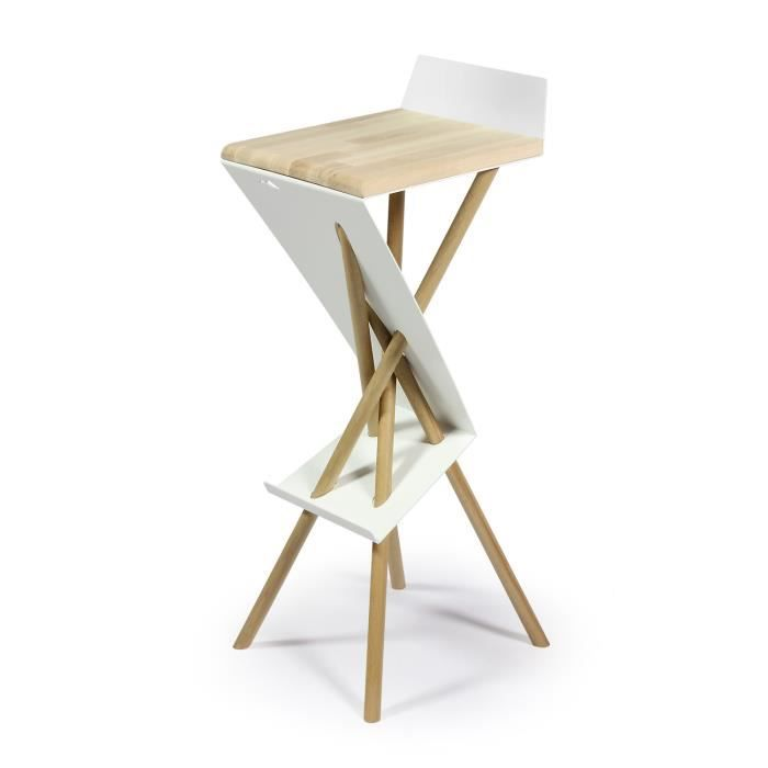 tabouret de bar armature acier et pieds et si ge h tre 30 x 30 x 90 cm finition bois. Black Bedroom Furniture Sets. Home Design Ideas