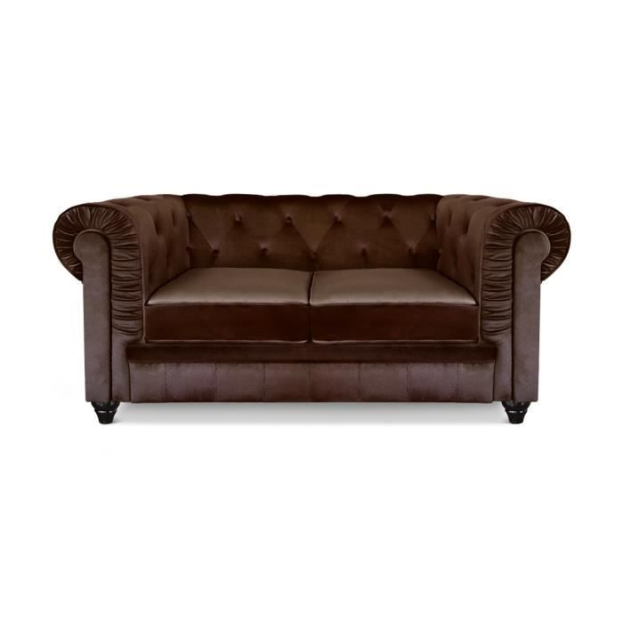 Canap chesterfield 2 places velours marron achat vente canap sofa d - Canape chesterfield convertible 2 places ...