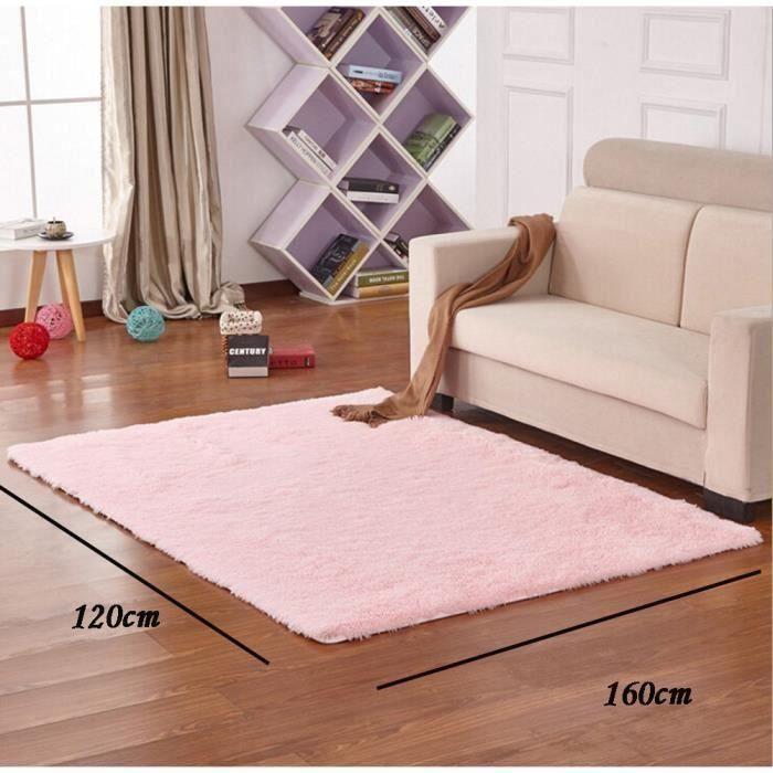Tapis Salon Shaggy - Pour chambre d\'enfant - Rose pâle - 120 × 160 cm