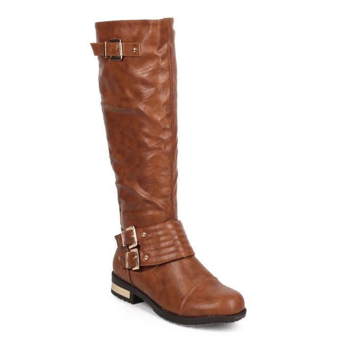 Dk93 Riding Gold Buckle RMPF9 Knee 38 plated Leatherette 2 High 1 Taille Boot rqYcZRr