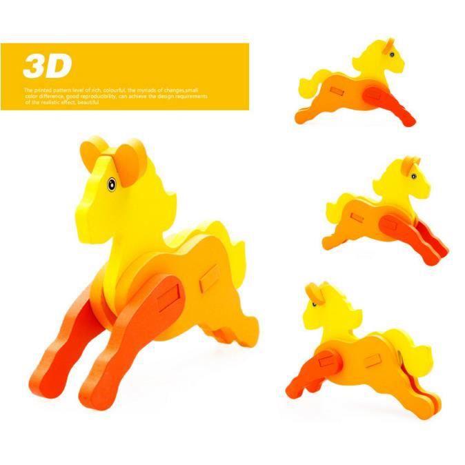 PUZZLE Puzzle 3D en bois pour connaître le cheval jouet é