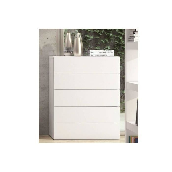 aurora commode blanche mate 5 tiroirs achat vente commode de chambre aurora commode blanche. Black Bedroom Furniture Sets. Home Design Ideas