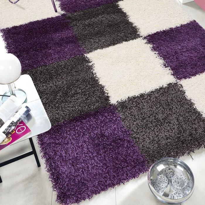 tapis salon norlaz gris violet 80x150 par unamourdetapis. Black Bedroom Furniture Sets. Home Design Ideas