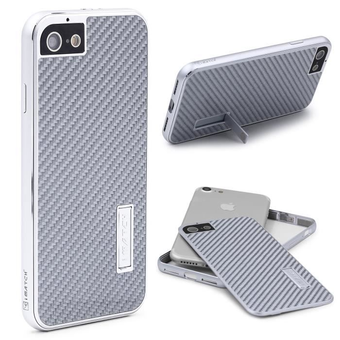 coque iphone 7 urcover aluminium fibre de carbon