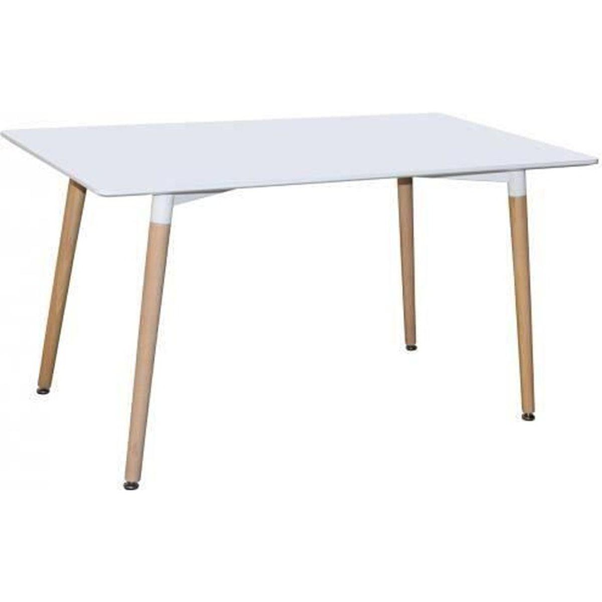 TABLE À MANGER SEULE TABLE À MANGER SCANDINAVE EN BOIS LAQUÉE BLANC CAM