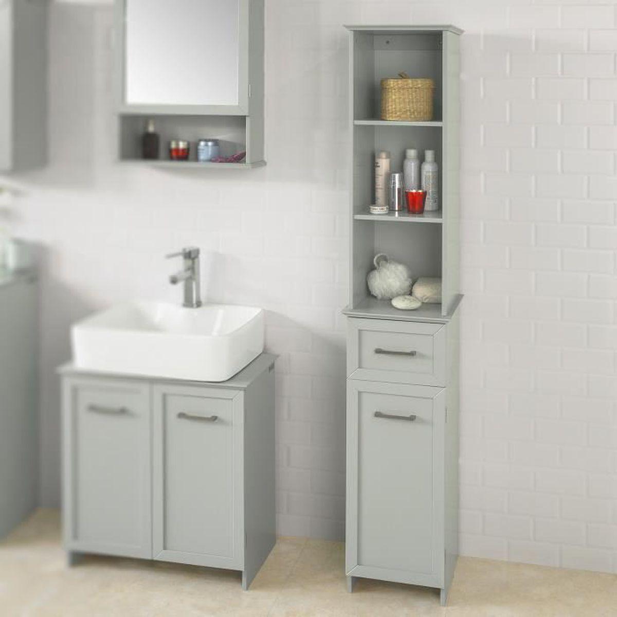 Rangement salle de bain colonne gris