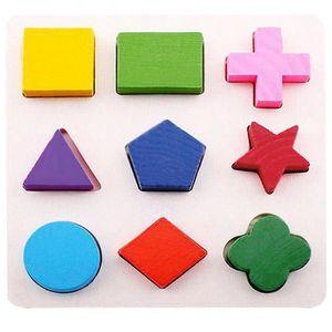 PUZZLE PUZZLE Enfants Géométrie Bois Puzzle De Bloc #b