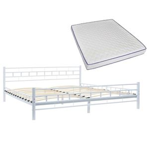 LIT COMPLET VAGUE Lit métallique et matelas 180x200 cm Blanc D