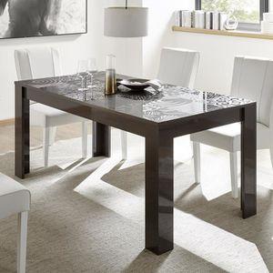 TABLE À MANGER SEULE Table de repas gris laqué design 140 cm ELMA 2 Gri