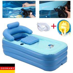 Baignoire /à remous Coussin de bain doux Coussin de spa gonflable pour si/ège gonflable Pour adultes et enfants free size bleu Accessoires de spa
