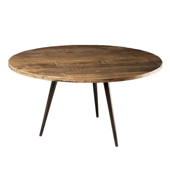 Table basse ronde - Teck recyclé et métal - Marron - Style industriel - 75 x 75 x 40 cm